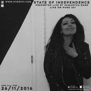 Samantha Bagg - State Of Independence Live On Pure 107 26.11.2016